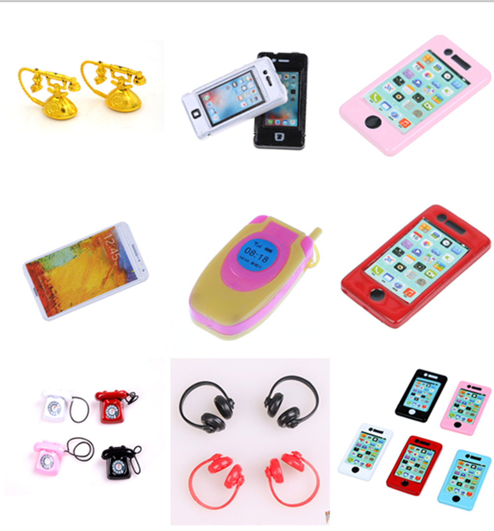 1/2PCS Mini Pad Phone Earphone Vintage Telephone Dollhouse Miniature Toy Doll Living Room Dolls Accessories  1:6/1:12 Scale