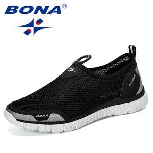 Image 5 - Мужские воздухопроницаемые кроссовки BONA, серые повседневные сетчатые Мокасины, удобная обувь для баскетбола, 2019
