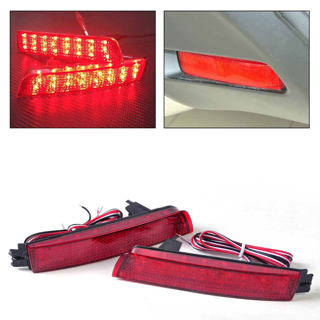 2x Red Lens LED Bumper Reflector Rear Tail Brake Light 265605C000 for Nissan Juke Quest Murano Sentra Infiniti FX35 FX37 светильник 3d light fx авто red
