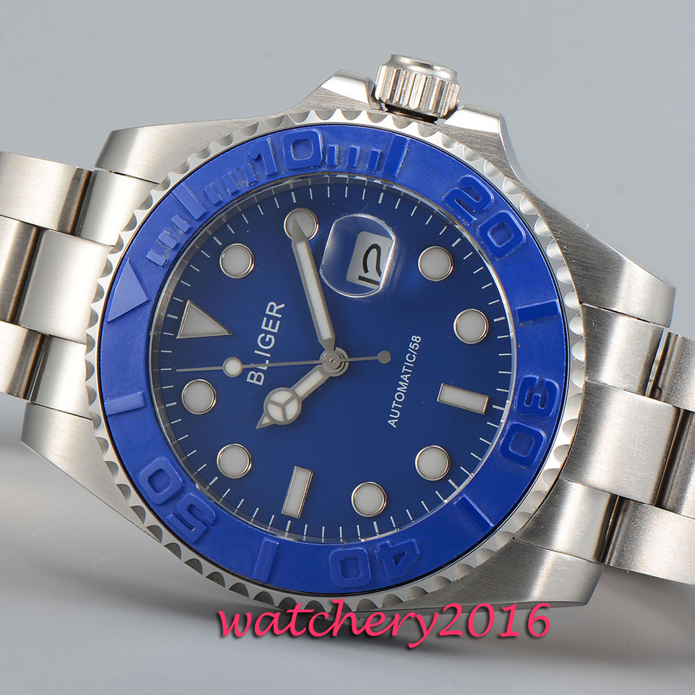 New 43mm Bliger blue dial date window steel case sapphire glass Automatic movement Mens WatchNew 43mm Bliger blue dial date window steel case sapphire glass Automatic movement Mens Watch