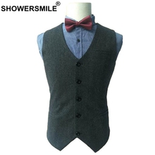 SHOWERSMILE Herringbone Wool Vest Men Tweed Slim Fit Waistcoat Male British Blazer For Wedding Smart Casual Sleeveless Jacket