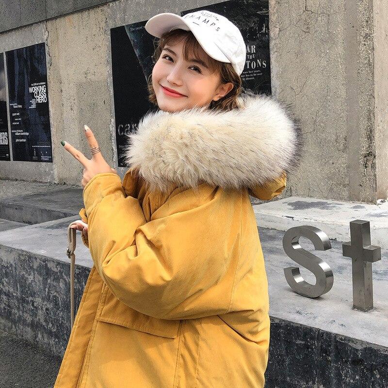 Parka   Women Winter Coats 2019 New Long Hooded Coat Fur Collar Thicken Warm Jacket Double Pocket Sweet Loose Outerwear Female