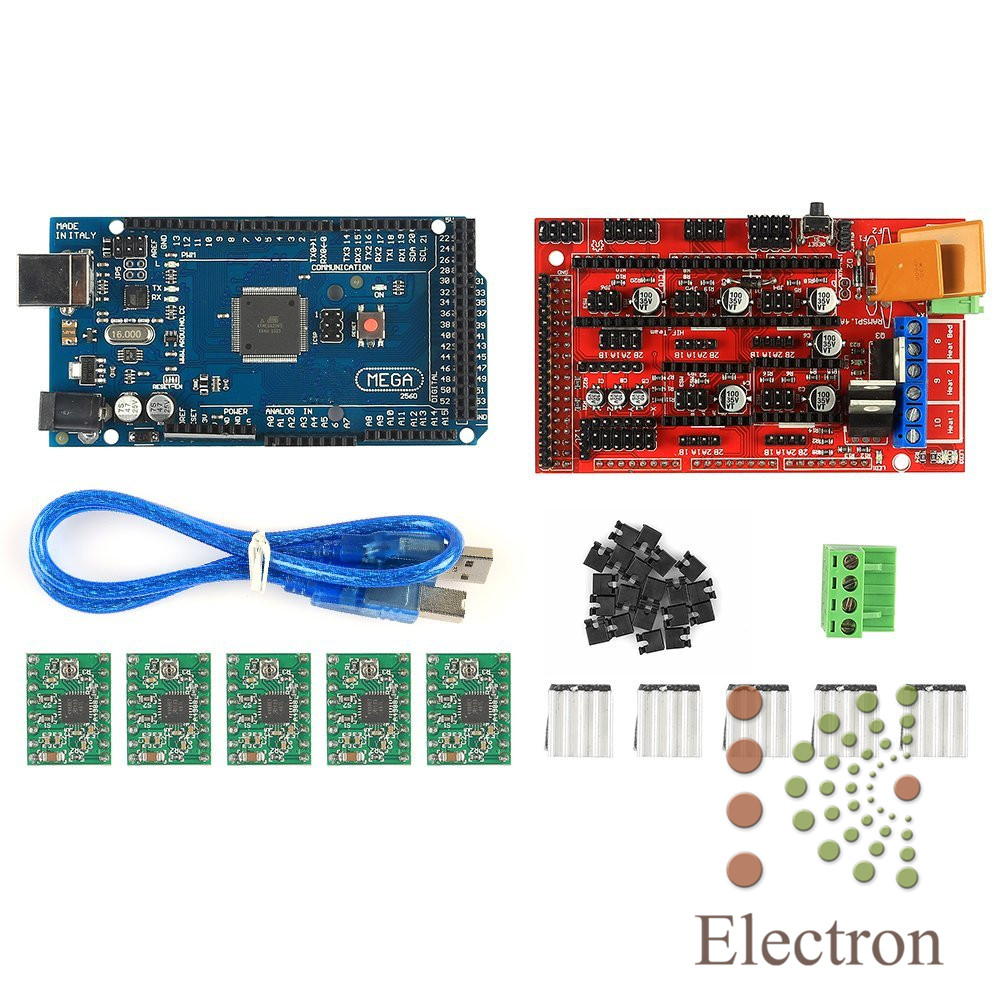 RAMPS 1.4 REPRAP Controller module + Mega 2560 R3(Arduino Compatible) + 5pcs A4988 Stepper Driver Module for 3D Printer new mega 2560 ramps 1 4 controller 4pcs a4988 stepper driver module for 3d printer kit for arduino reprap
