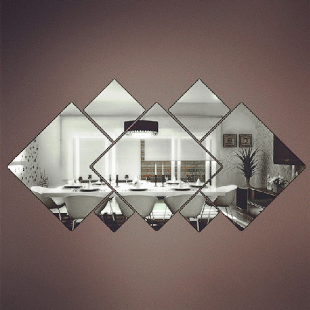7Pcs Silver DIY Squares Wall Stickers Removable Mirror Wall Decal Home Decor