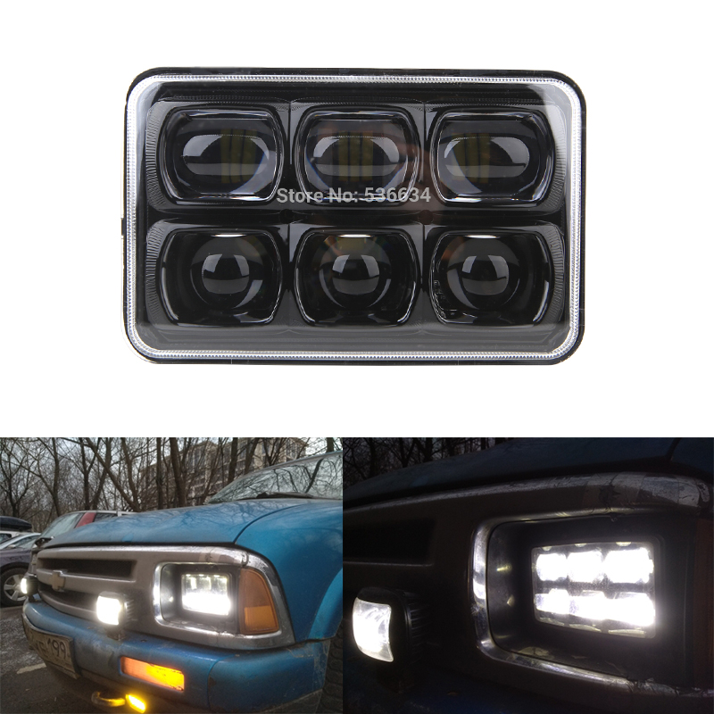 60W 5 4x6 Inch Super Headlight 6D Approved Square Led Work Light Spot Beam for Ford