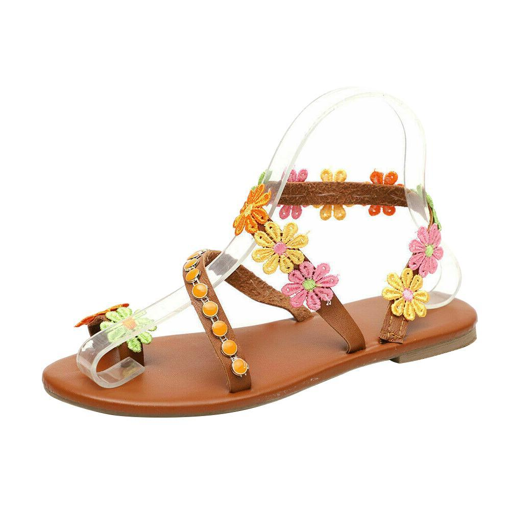 Summer Shoes for Women Gladiator Sandals Ladies Flat Fashion Sweet Flowers Beach