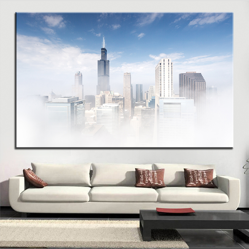 Chicago Home Decor Stores: Large Size Printing Oil Painting Chicago Fog Wall Painting