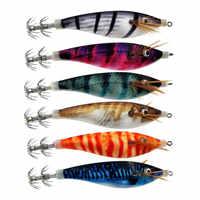 6 piezas nuevo diseño de cebo de camarón calamar Jig 10CM 12G gambas de madera artificiales Señuelos de Pesca de calamar anzuelo señuelos pulpo cebo