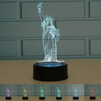 New York City Statue Of Liberty 3D LED Night Light Touch Desk Lamp Remote Control