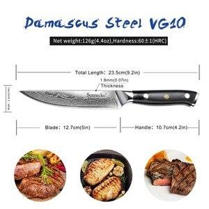 Image 2 - 2019 SUNNECKO 5 inch Steak Knife Damascus VG10 Steel 6PCS Kitchen Knives Set G10 Handle High Quality Knife Gift Box Packaging