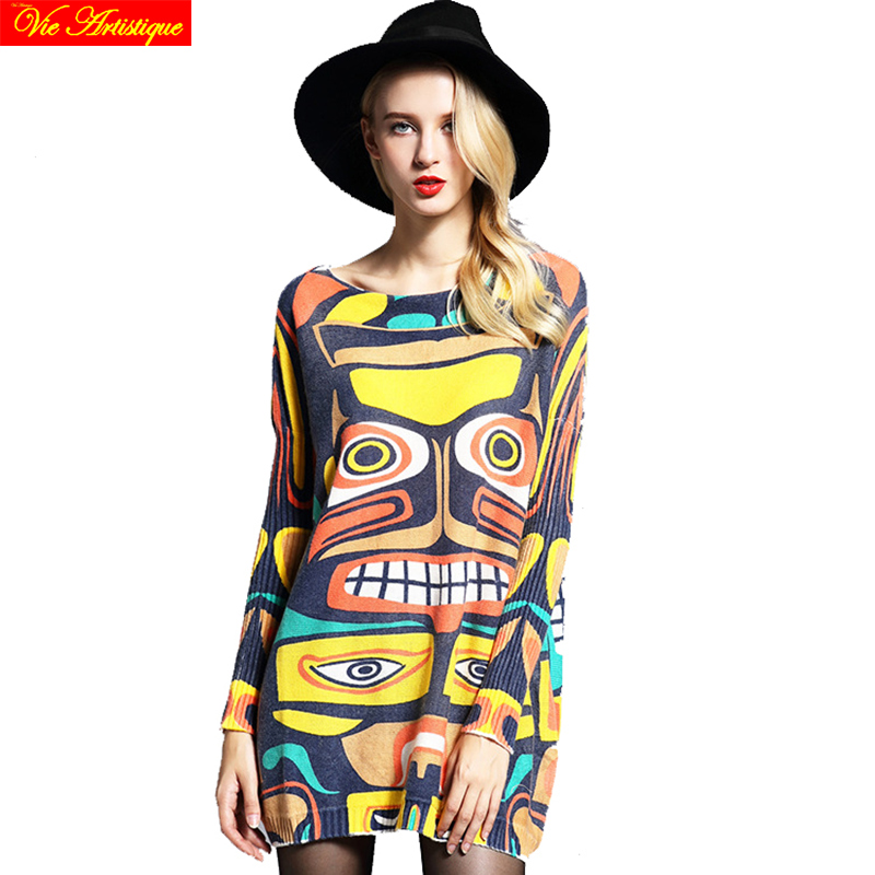 womens sweat female long Christmas sweaters and pullovers loose oversize turtleneck printed sex club 2018 spring summer VA