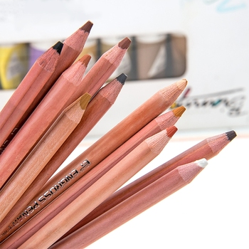 12Pcs Hand Painted Pastel Pencil Professional Soft Pastel Pencils Wood Skin Tint Pastel Colored Pencil фото