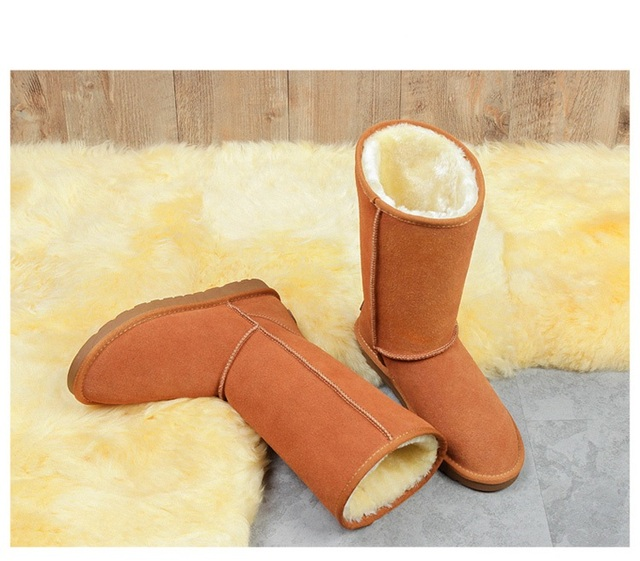 Australia Boots Women 2018 fashion High tube leather snow boots women Keep warm addition fur winter Women's boots Large size 1