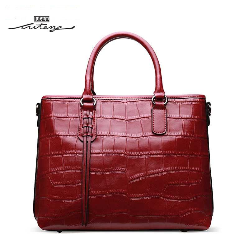 TU-TENG Handbags Top Grain Leather Luxury Handbags Women Bags Designer Fashion Solid Color Female Temperament Handbags G89090