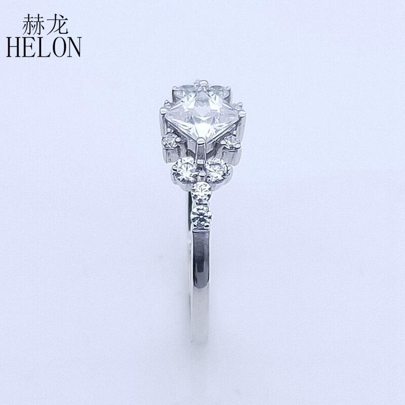 HELON AAA Graded Zirconia Ring Sterling Zilver 925 Engagement Wedding Vrouwen Trendy Fijne Sieraden Elegante unieke Gift Ring-in Ringen van Sieraden & accessoires op  Groep 3