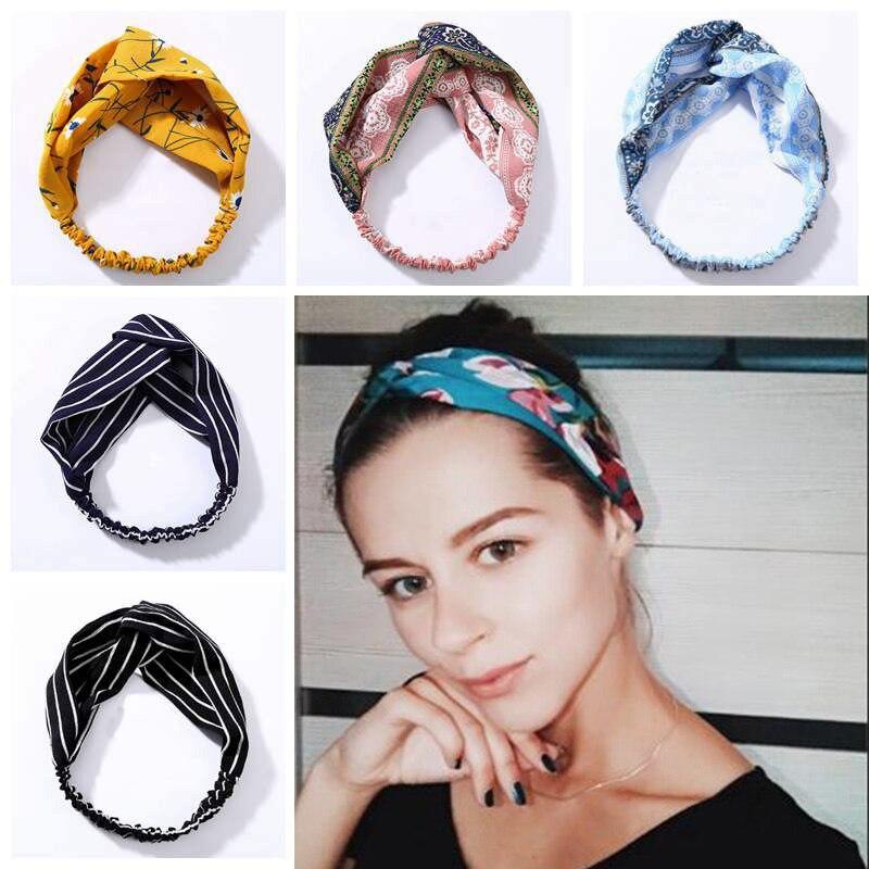 Sommer Chiffon Stirnband Frauen Haar Zubehör Turban Twist Kreuz Haarband Headwrap Mädchen Floral Striped Knoten Haarband Headwear