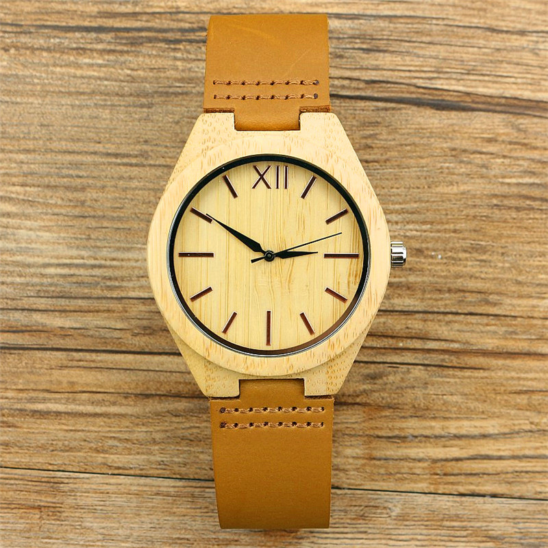 New Fashion High Quality Handmade Men Women Bamboo Quartz Watches With Scale Soft Leather Straps Simple Dial Unisex Gift Clock