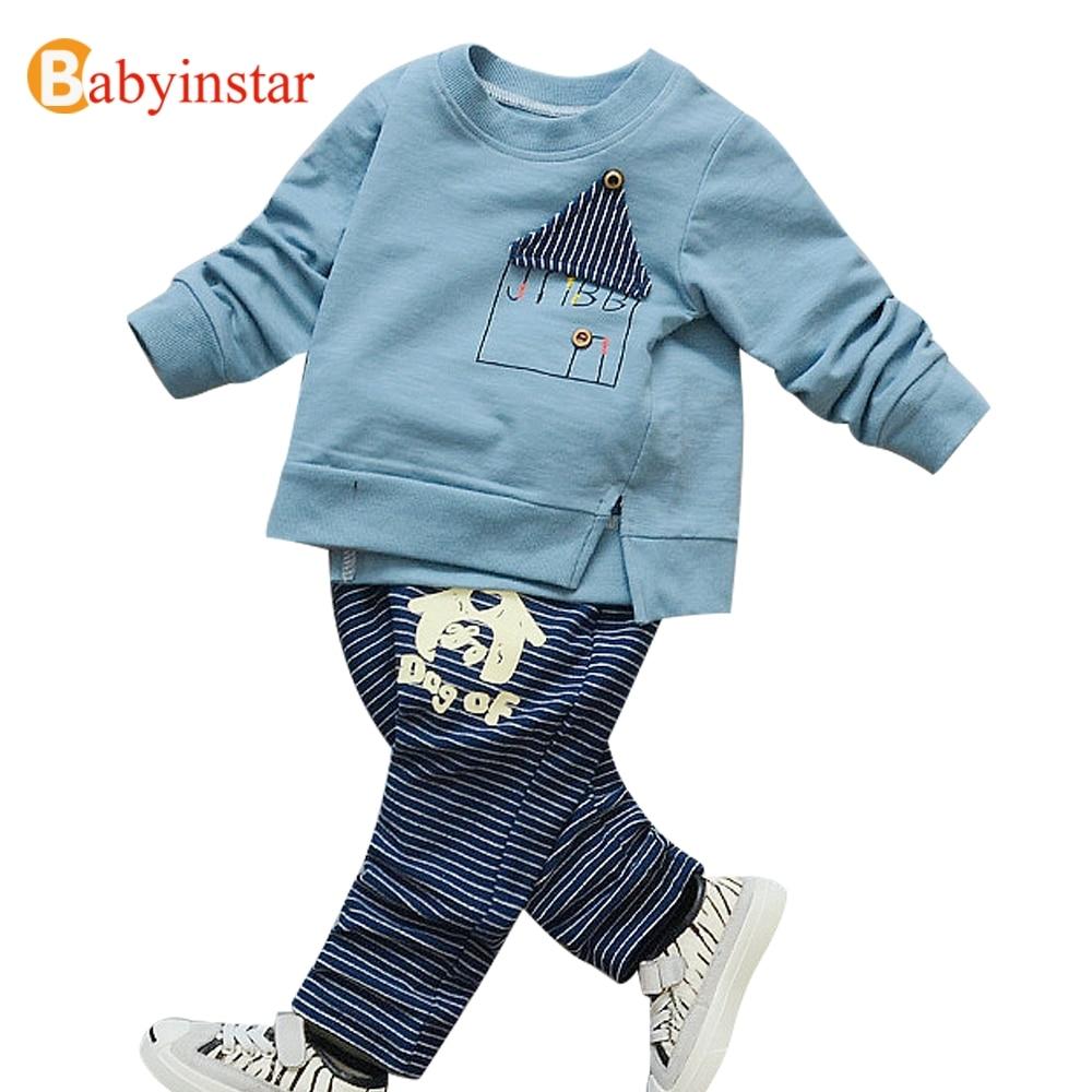 Babyinstar Kids Sport Suit New 2017 Autumn Girls Boys 2pcs Children Clothing Set Baby Clothes Long-sleeve T-shirt Pants