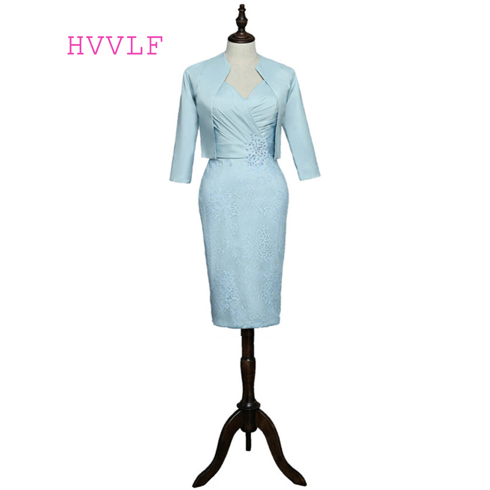 Plus Size 2017 Mother Of The Bride Dresses Sheath Knee Length With Jacket Lace Bead Short Formal Groom Mother Dress For Wedding ...