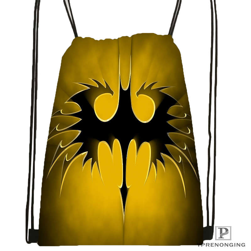 Custom Batman Logo Style  Drawstring Backpack Bag Cute Daypack Kids Satchel (Black Back) 31x40cm#180531-02-05