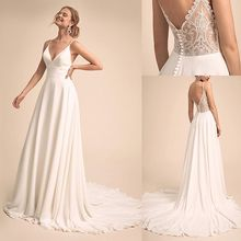 Simple & Charmant V hals Hals Trouwjurk Met Kant Terug Bridal Dress Vestido De Festa De Casamento
