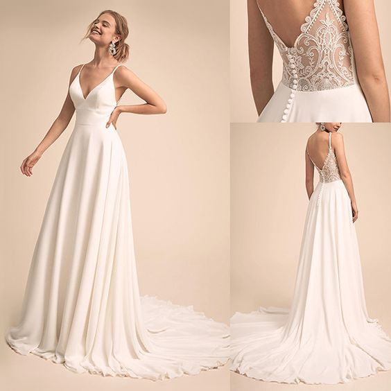 Vestido de noiva com renda, vestido de festa de casamento simples e charmoso com decote em v, vestido de casamento com costas