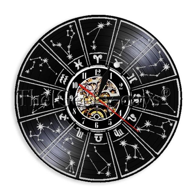 b1f4c4b7c 1Piece Zodiac Sign Horoscope Astrology Vinyl Record Wall Clock Watch  Decorative Wall Art Unique Original Handmade Gift