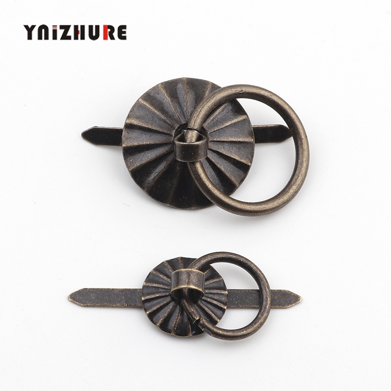 40Pcs Antique Sun Drawer Cabinet Desk Door Pull Handle Knob Furniture Hardware,Ring Pin Handle,Bronze Tone