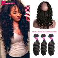 360 Lace Frontal With Bundle Pre Plucked 7A 360 Lace Frontal Closure With Bundles Loose Wave Brazilian Virgin Hair With Closure