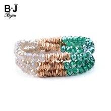 BOJIU Trendy Faceted Green Gray Crystal Beads Women Bracelet Classic Elastic Handmade Lady Multiplayer Bead Bracelet Gift BC240