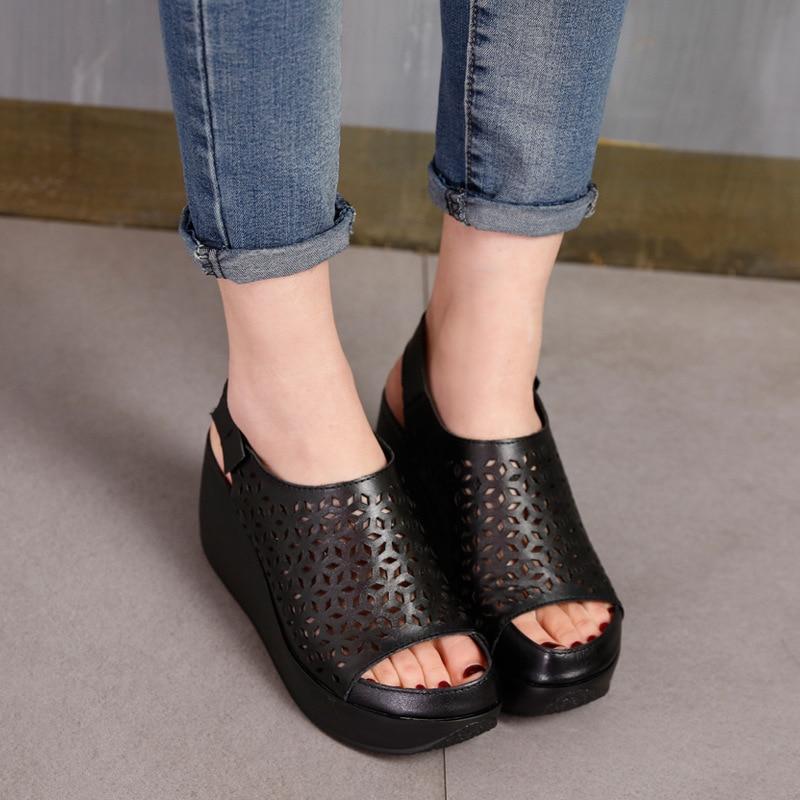 GKTINOO sandały z prawdziwej skóry damskie letnie buty Retro Hollow Out 7CM wysokie obcasy klinowe zestaw stóp kobiet skórzane sandały 2019 w Wysokie obcasy od Buty na  Grupa 3