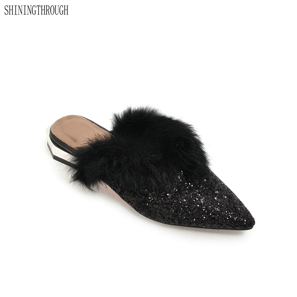 New Mules Shoes Women Party Sandals Stilettos Pointed Toe low Heels Slippers Summer Slides sexy fur women shoes Size 34-43 meotina brand design mules shoes 2017 women flats spring summer pointed toe kid suede flat shoes ladies slides black size 34 39
