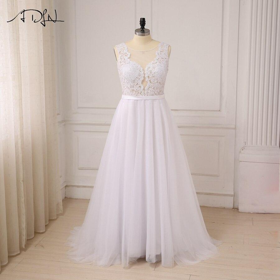 ADLN Plus Size White Wedding Dresses New Sexy Scoop Tulle Appliques Beach Boho Bride Dress Long
