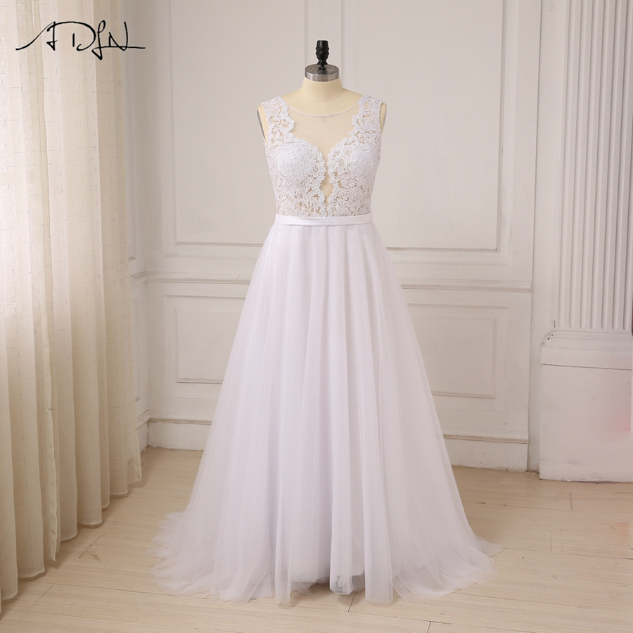 ADLN Plus Size White Wedding Dresses New Sexy Scoop Tulle Appliques Beach Boho Bride Dress Long Ivory Wedding Gowns Custom