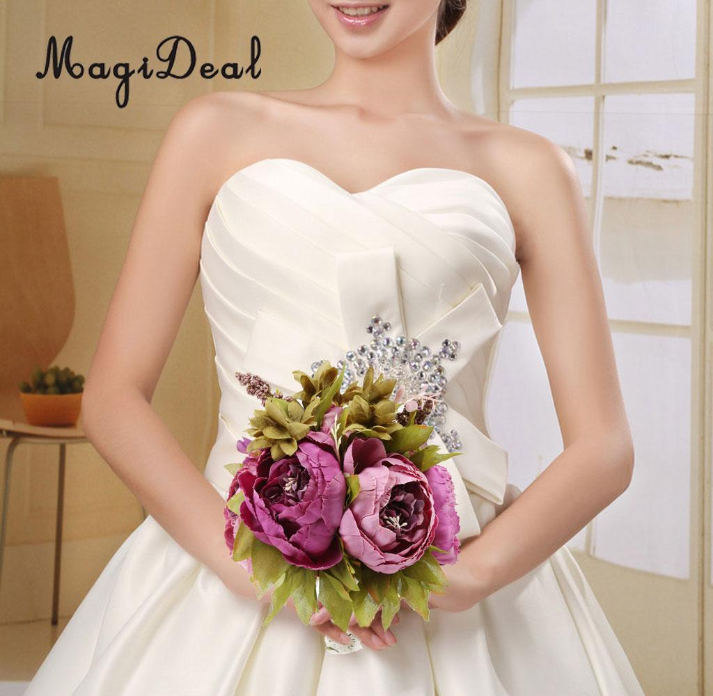 MagiDeal Gorgeous 1Pc Fabric Bridal Bridesmaid Wedding Bouquet Decor Bride Hand Holding Peony Flower 20cm Height Purple Green