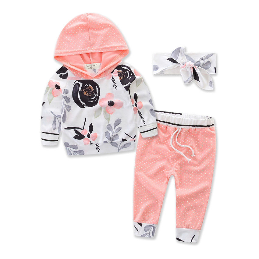 3pcs/sets Newborn Baby Kids Girls Clothes Floral Hooded Long Sleeve Hoodies Tops+Long Pants+Headwear Casual Autumn Baby Set