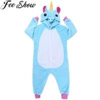 2018 New Baby Boys Girls Pajamas Autumn Winter Children Flannel Animal Hooded Funny Animal Pajamas Kid