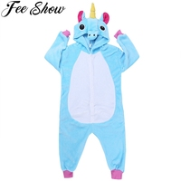 2018 New Baby Boys Girls Pajamas Autumn Winter Children Flannel Animal Hooded Funny Animal Pajamas Kid
