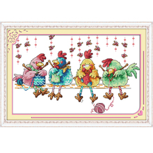 The Chicken Knitting a Sweater Cross Stitch Kits 11CT Printed Fabric 14CT Canvas DMC Counted Chinese Embroidery set Needlework