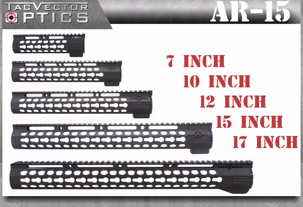 Tactical Ultra Slim KeyMod 7 10 12 15 17 pollici Free Float Picatinny Rail Handguard Montare fit .223 / 5.56 AR15 M4 M16