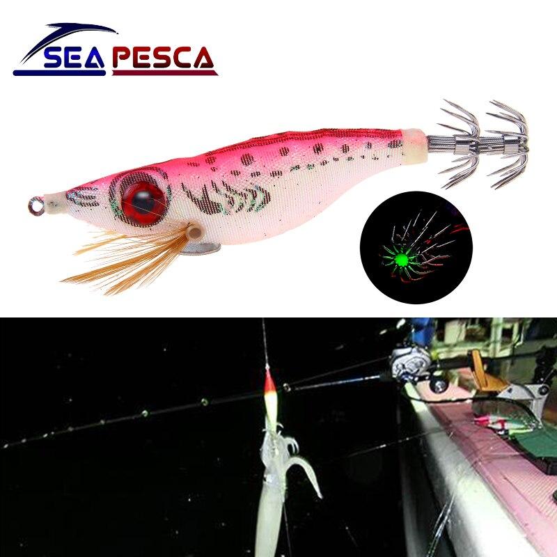 Sea Fishing 1 x Luminous Squid Jig Squid Lures 10cm