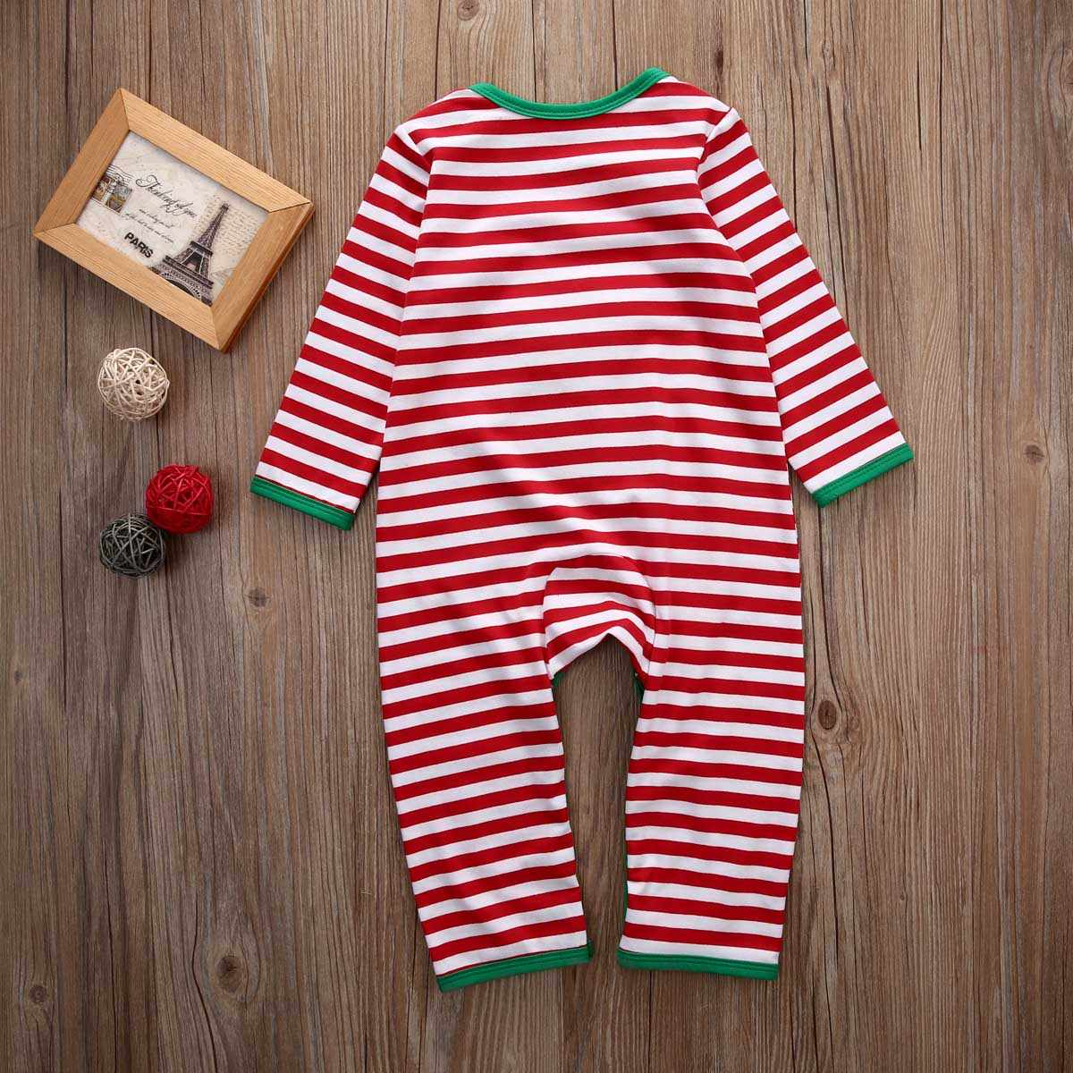 df2f15f156f0 ... 2018 Newborn Toddler Baby Kid Boy Girl Moose Long Sleeve Stripes Xmas  Romper Babies Christmas Jumpsuit