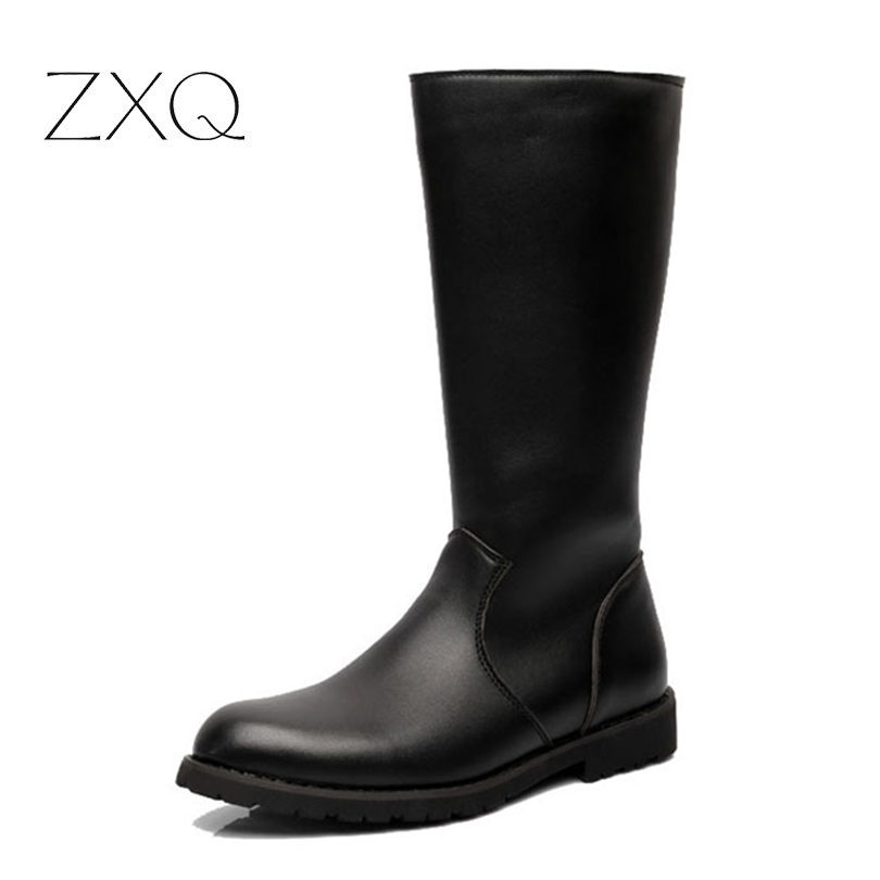 ZXQ Over Knee High Boots Mens Military Boots PU Leather Men Long Waterproof Snow Boots Equestrian Motorcycle Boots image