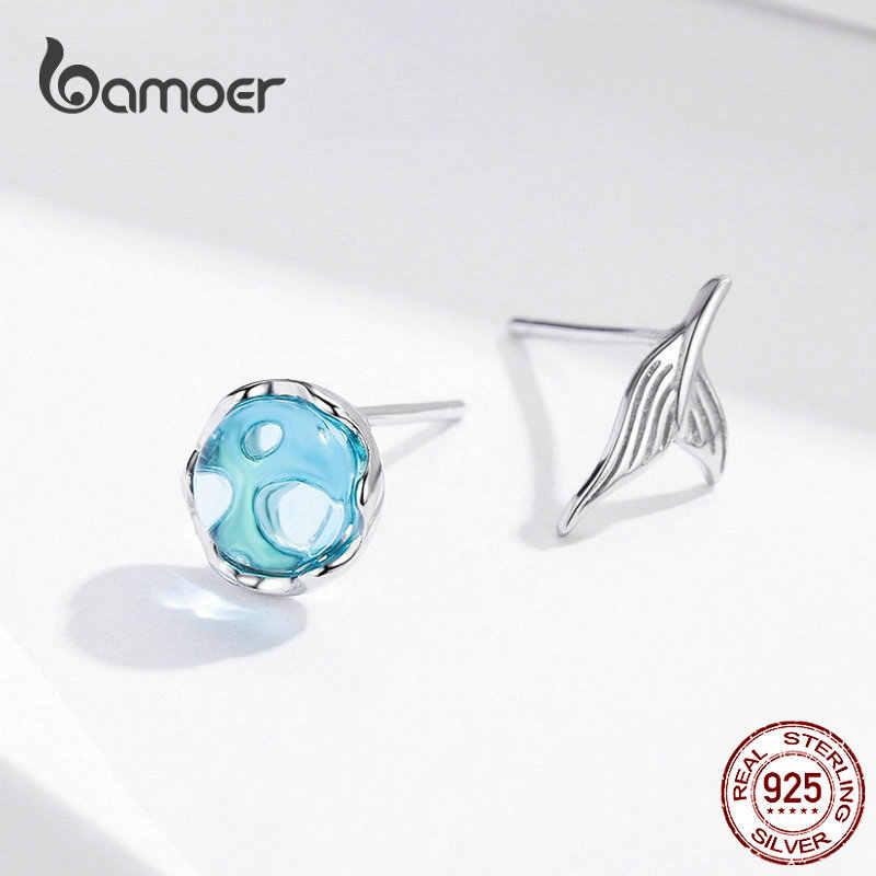 Bamoer sereia brincos para as mulheres 925 prata esterlina mar azul peixe cauda cristal brinco 2019 presentes da menina brincos sce630