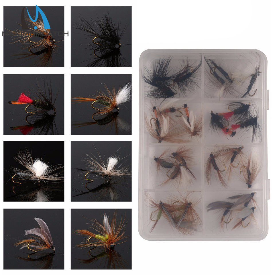 Maximumcatch Mixed Dry Flies With Plastic Box Feather Bait Hook Fly Flies Fish Hook Lures Fishing Flies 12/24 Piecs цена