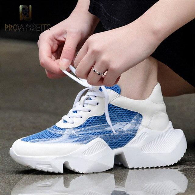 Prova Perfetto Artı Boyutu 35-42 platform ayakkabılar Kadın Moda Sarı Ayakkabı Kadın Kalın Taban Tıknaz beyaz ayakkabı Örgü Baba Ayakkabı