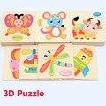 Niños de la historieta de animales 3D Jigsaw rompecabezas de madera 28, bebé Kids inteligencia educativos juguetes