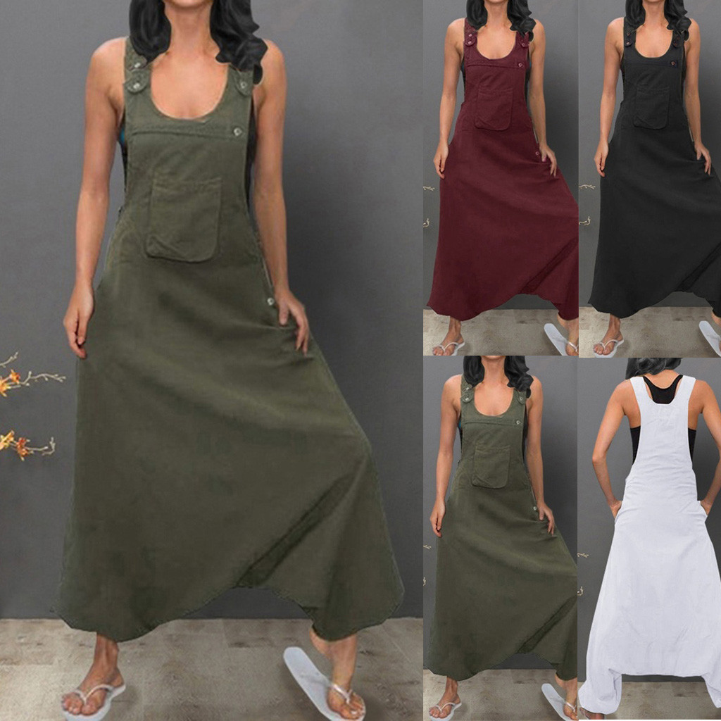 Long Jumpsuits Backless Plus-Size Casual Summer Women Sleeveless U-Neck Pockets Baggy