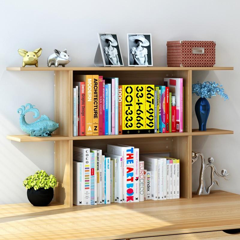 Desktop Bookshelves: LK1675 Simple Desk Storage Rack Creative Wooden Bookcase