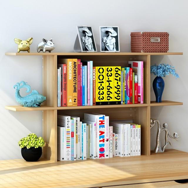 LK1675 Simple Desk Storage Rack Creative Wooden Bookcase Modern Desktop Organizer Mini Bookshelf DIY